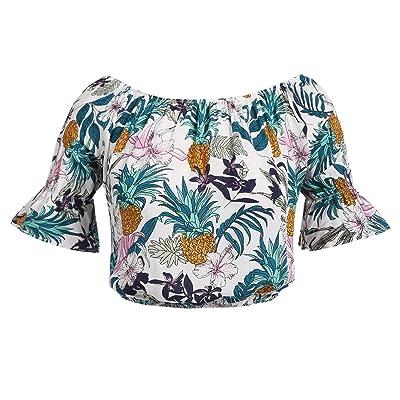 ELESOL Women Sexy Off Shoulder Bell Sleeve Crop Top Casual Boho Ruffle Blouse Shirt