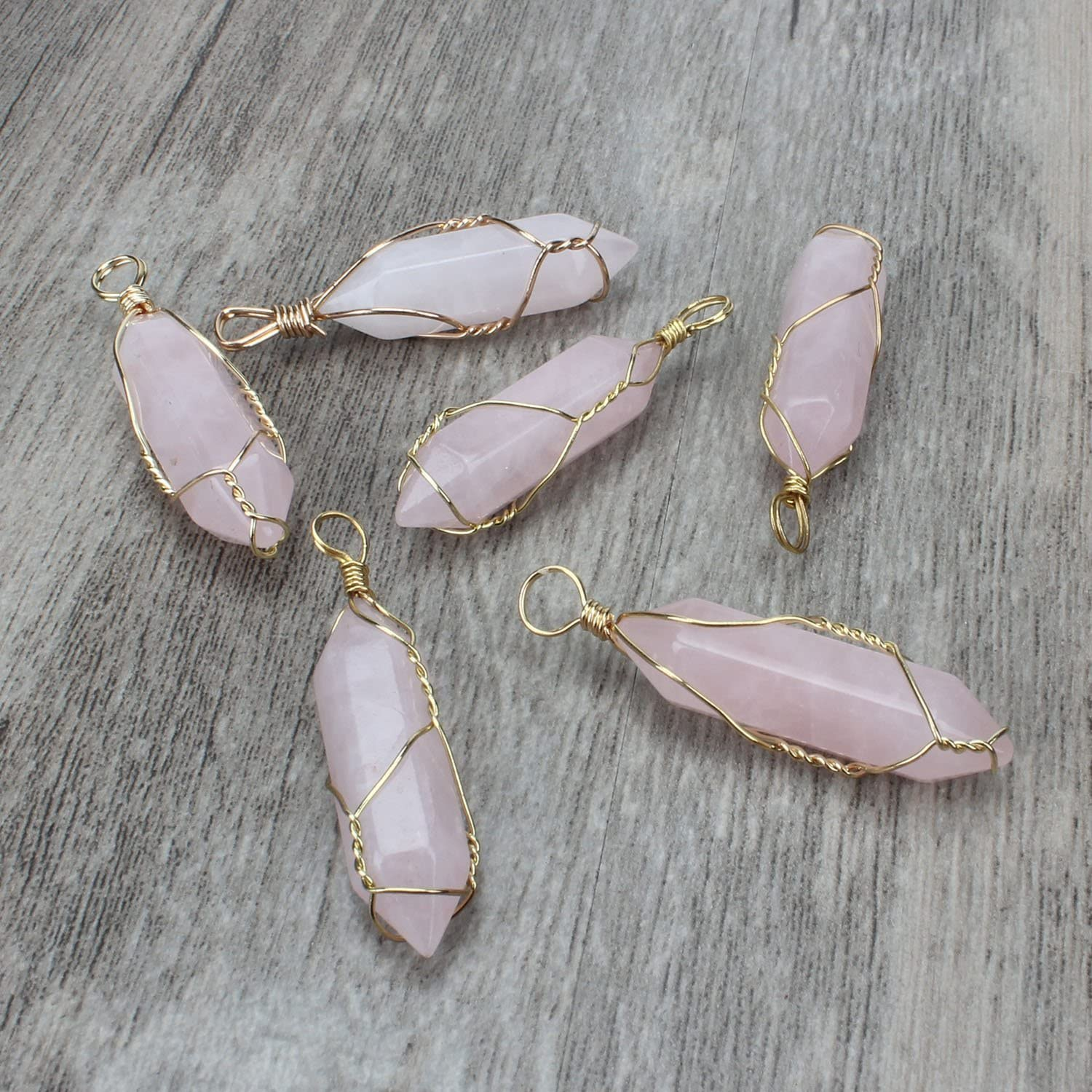 1pc Natural Rose Quartz Square Shape Pendant Gold plating covered DIY Jewelry making supplies