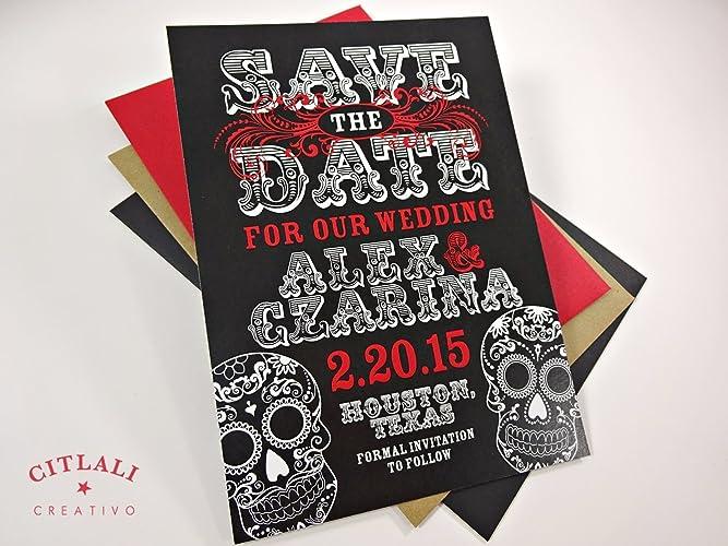 Amazon.com: Black Save the Dates Sugar Skulls Wedding Announcements ...