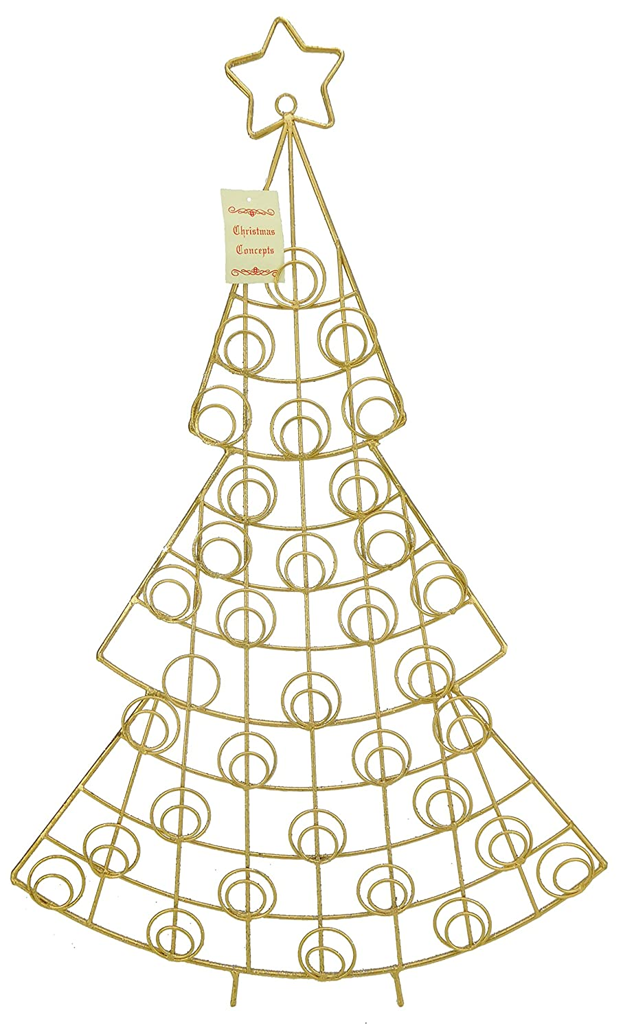 Christmas Concepts® 66cm Gold Tree Christmas Card Holder - Holds 34 Cards - Christmas Decoration