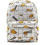 Finex White Gudetama Canvas Backpack with Laptop storage compartment for School College Daypack Causal Travel Bag