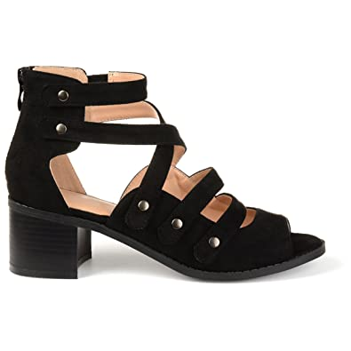 9ed15047542de Womens Aalto Faux Suede Open-Toe Multi-Strap Heeled Sandals Black
