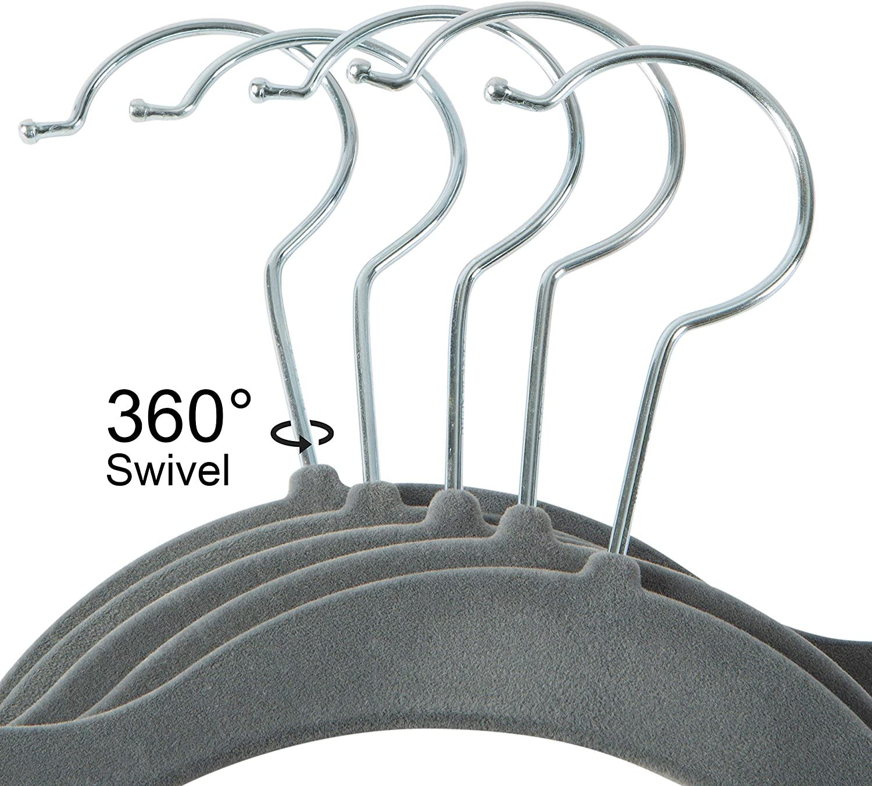 Simplify Velvet Hangers Wardrobe Garment Hanger Pack of 25 Clothes Non Slip Space Saving Plastic Hangers for Shirts Pants Skirts Dresses Sweaters Scarves