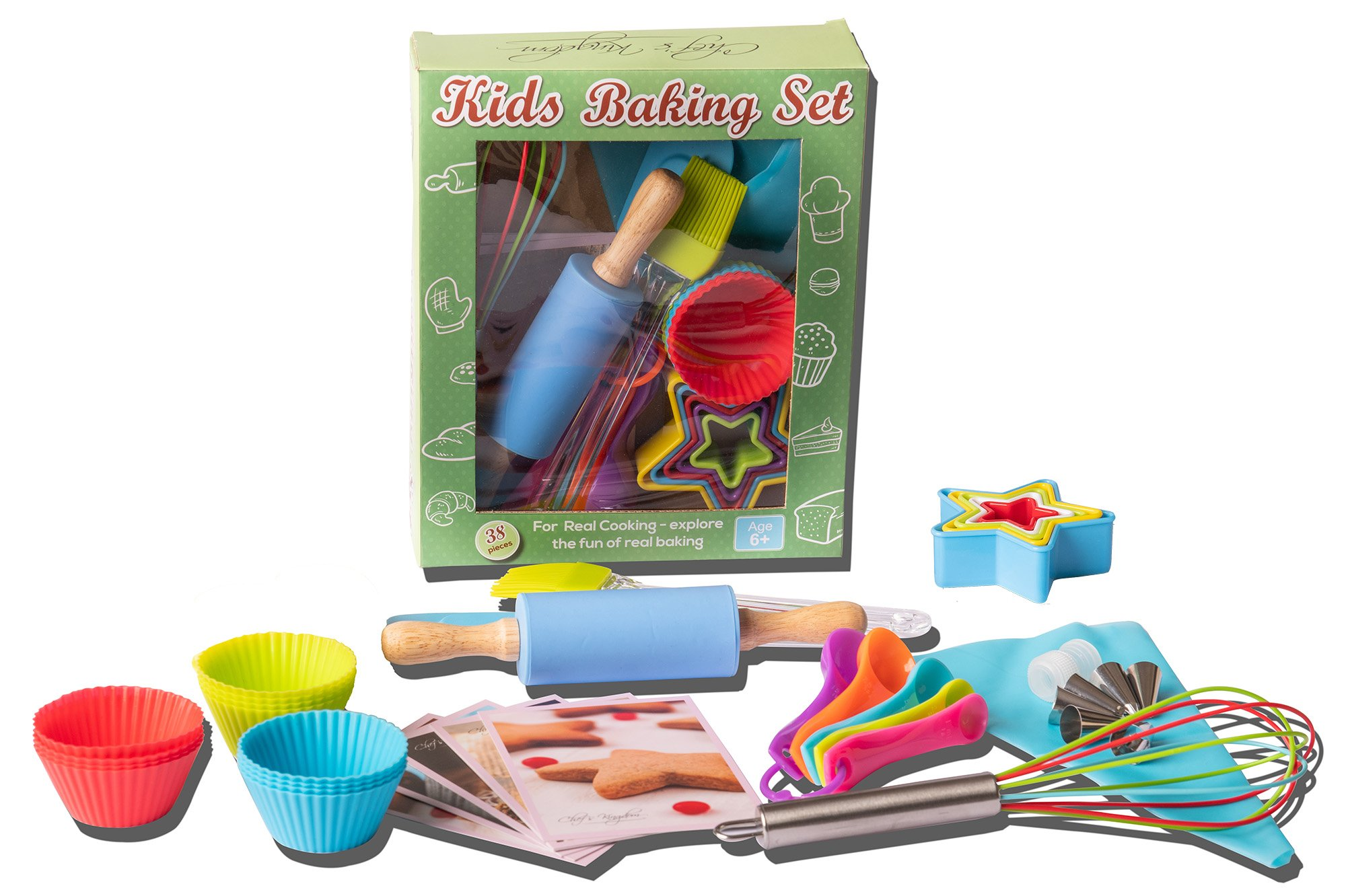 Riki's kingdom kids baking set 2 COMPLETE 38-PIECE BAKING SET! includes everything needed to bake with your children- Comes with 12 silicon baking cups, 1 spatula, 1 pastry brush, 5 measuring spoon, 1 rolling pin, 1 whisk, 5 star shape cookie cutters, piping bag , 6 piping nozzles , coupler and 5 recipe cards FAMILY-FRIENDLY FUN! Complete set ,It's not complicated- every convenience you can ask for and more! Microwave safe, flexible, comfortable for little hands, rust-free, no need to grease pan, withstands heat of melted sugar; sauces and creams don't stick, and the items are reusable to makes your kitchen a little greener STORE SMALL - BAKE BIG - plastic cookie cutters can be nested to save space, the piping bag and apron can be folded up neatly, while silicone items are flexible enough that you can fold it up for easy storage in small areas and they jump right back into shape when unfolded