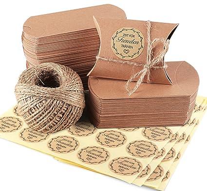 100 Piezas Bolsas de Regalo, de Papel Kraft Marrón Almohada Cajas de Regalo con Cuerda de Yute 60M, 100 Piezas regalo adhesivo Pegatinas, Bolsa para ...