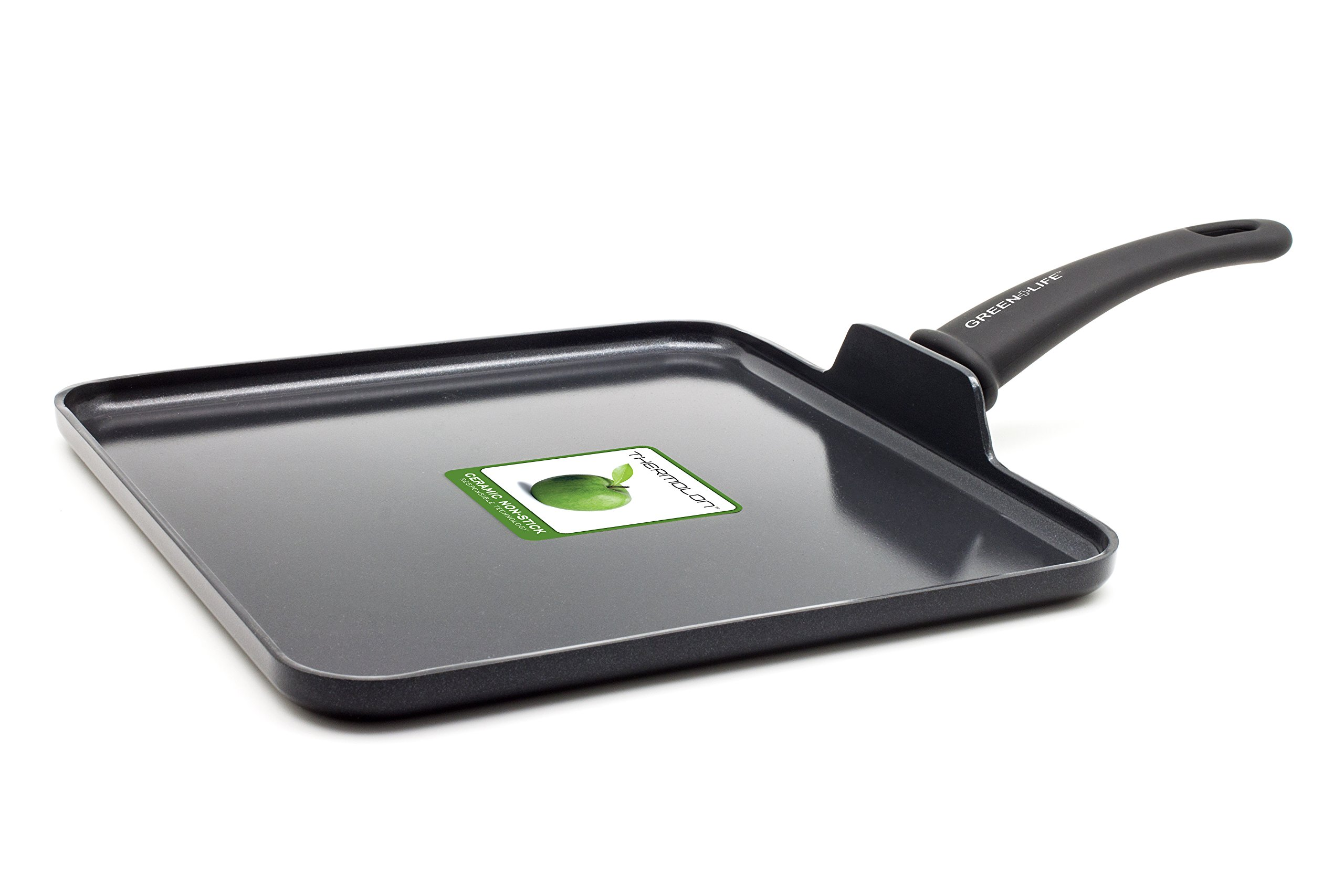 GreenLife CC000605-001 Diamond Healthy Ceramic Nonstick Dishwasher Safe Oven Safe Stay Cool Handle Square Griddle, 11-Inch, Black