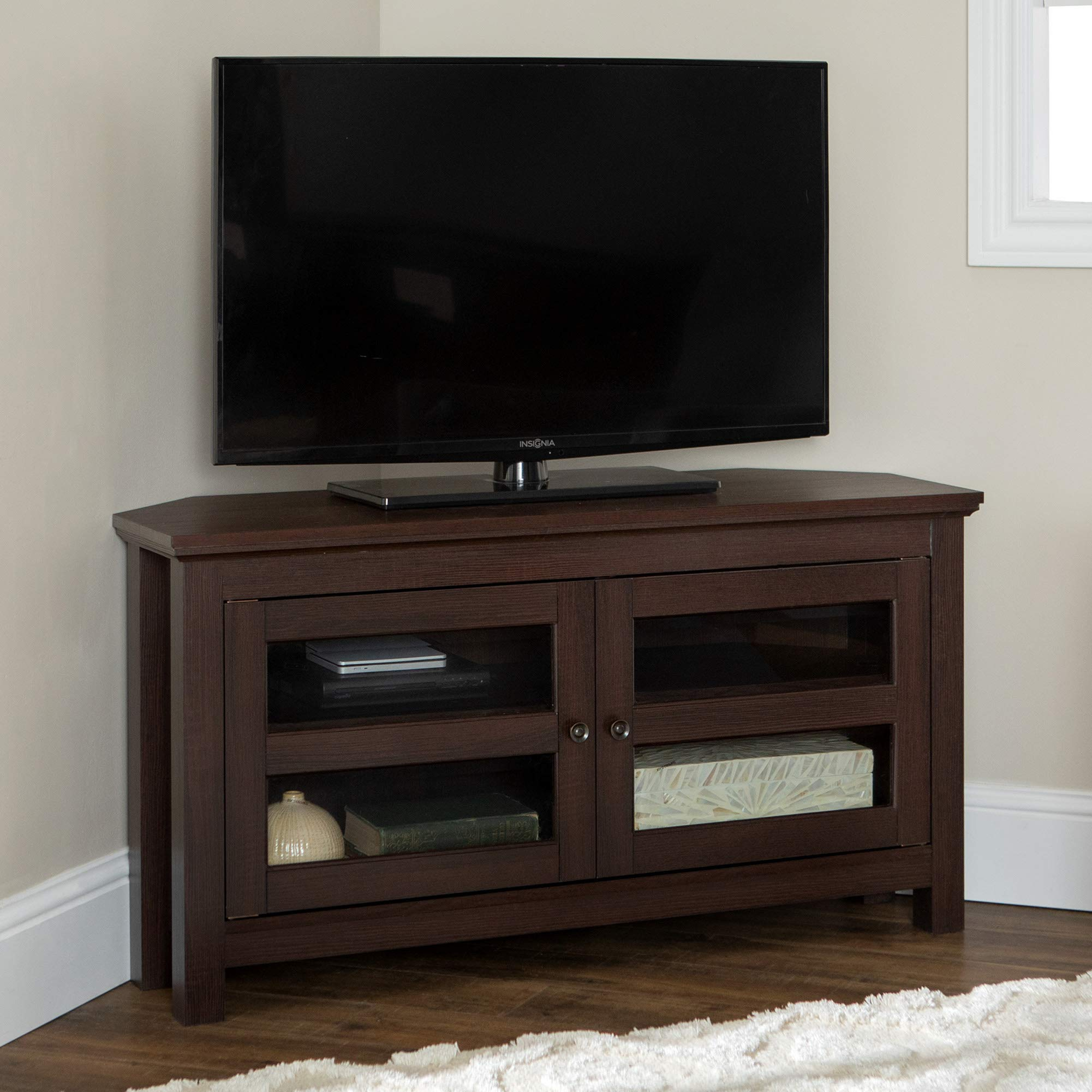 WE Furniture Modern Farmhouse Wood Corner Stand for TV's up to 48'' Living Room Storage, 44 Inch, Espresso Brown by WE Furniture