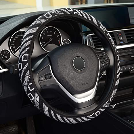 Universal 15 inch Pink KAFEEK Steering Wheel Cover,Warm in Winter and Cool in Summer Elastic Breathable Ice Silk