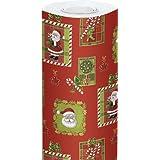 Clairefontaine - 211302C - Alliance Rouleau de Papier Cadeau 50 X 0,7 m Motif Père Noël Mosaïque Fond Rouge