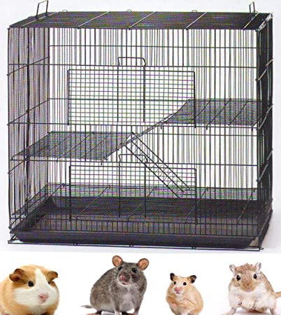 3 Levels Ferret Chinchilla Hamster Suger Glider Gerbil Rats Mouse Mice Guinea Pig Rodent Degu Dagus Small Animal Cage, Tight 3/8-Inch Bar Spacing