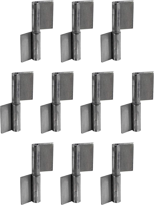Bisagra para puerta de soldadura Gedotec - metálica   Altura = 100 mm   DIN a la Izquierda   Bisagra robusta para portón de jardín y maquinaria   bisagra para puertas de acero - 10 piezas
