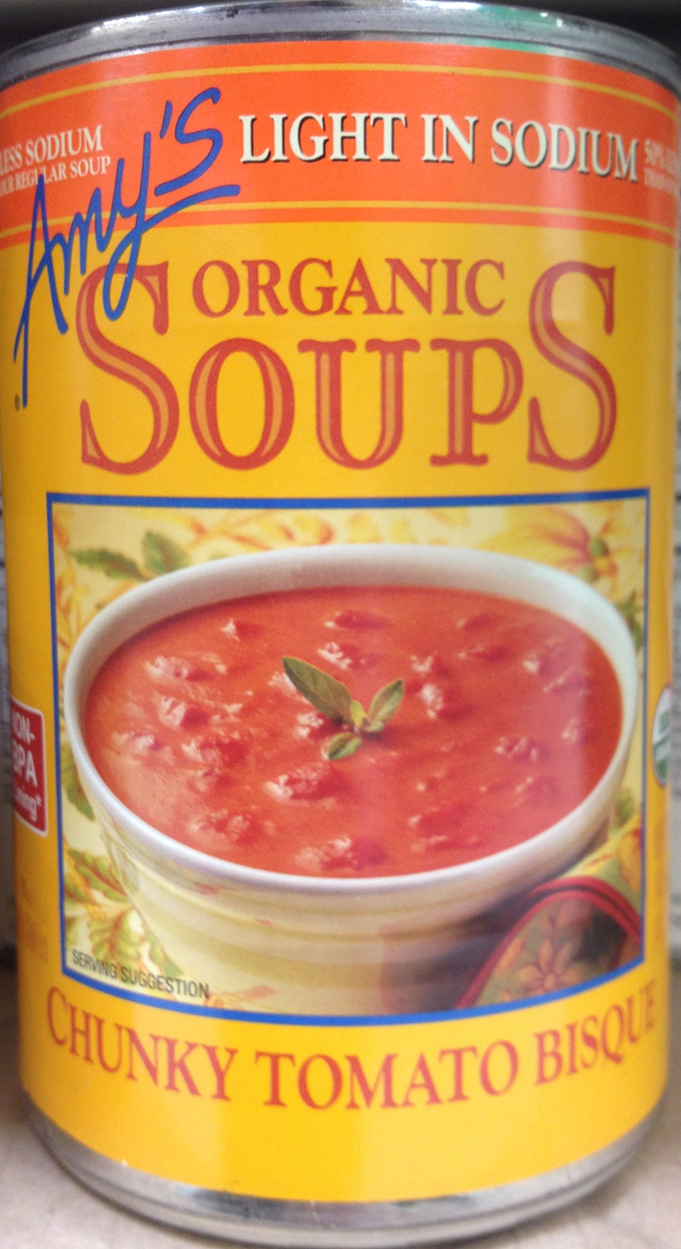 Amy's Organic Soups Light in Sodium Chunky Tomato Bisque 14.5oz Can (Pack of 7)