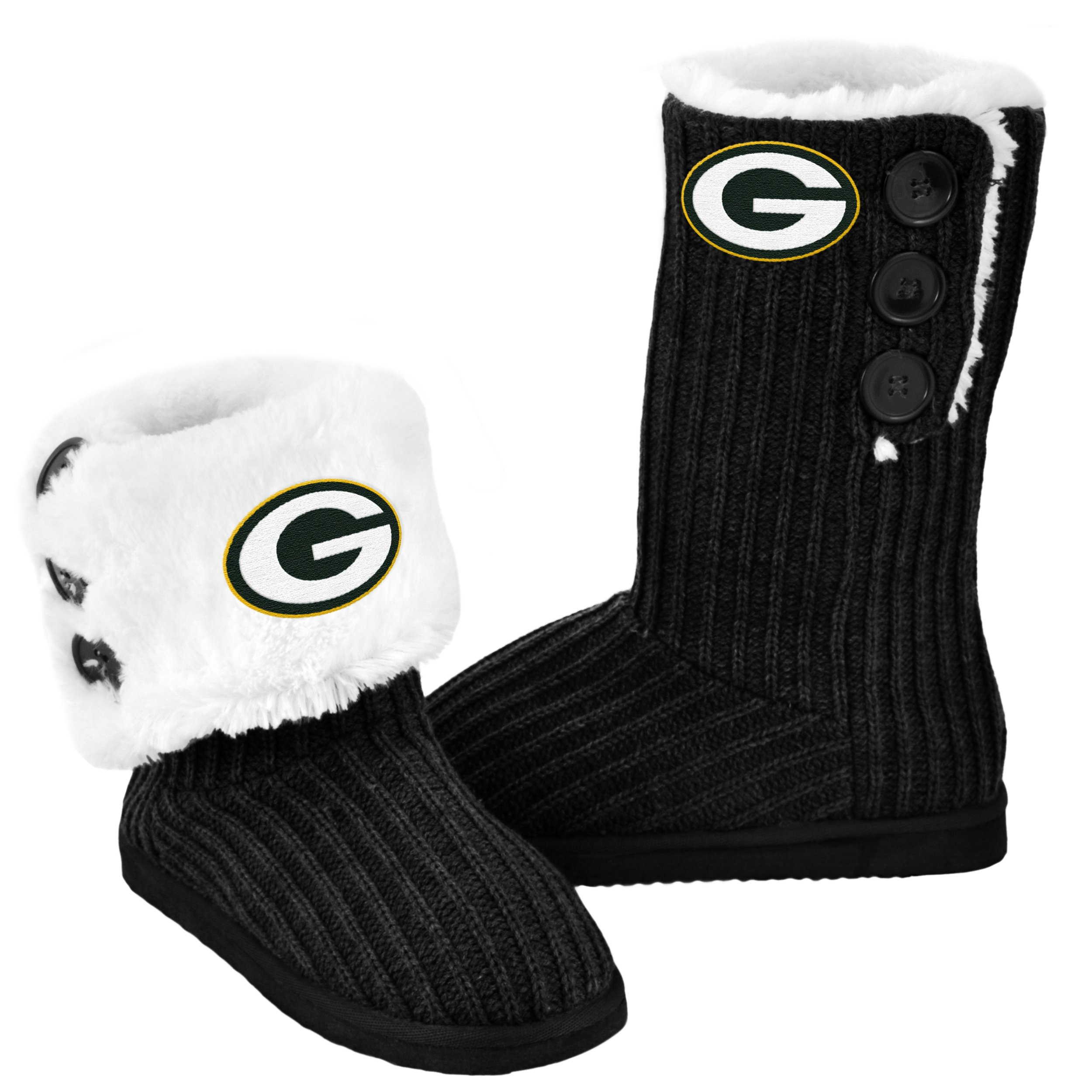 Green Bay Packers Knit High End Button Boot Slipper Large