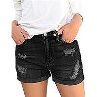 KISSMODA Women's Casual Denim Shorts Frayed Raw Hem Ripped Summer Jeans Rolled Up Stretchy Hot Short Pants