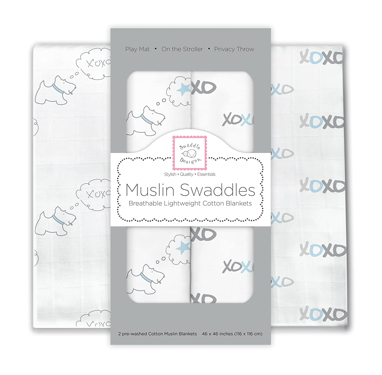 SwaddleDesigns X-Large Cotton Muslin Swaddle Blankets, Doggie XOXO, Pastel Blue, Set of 2 SwaddleDesings SDM-160PB
