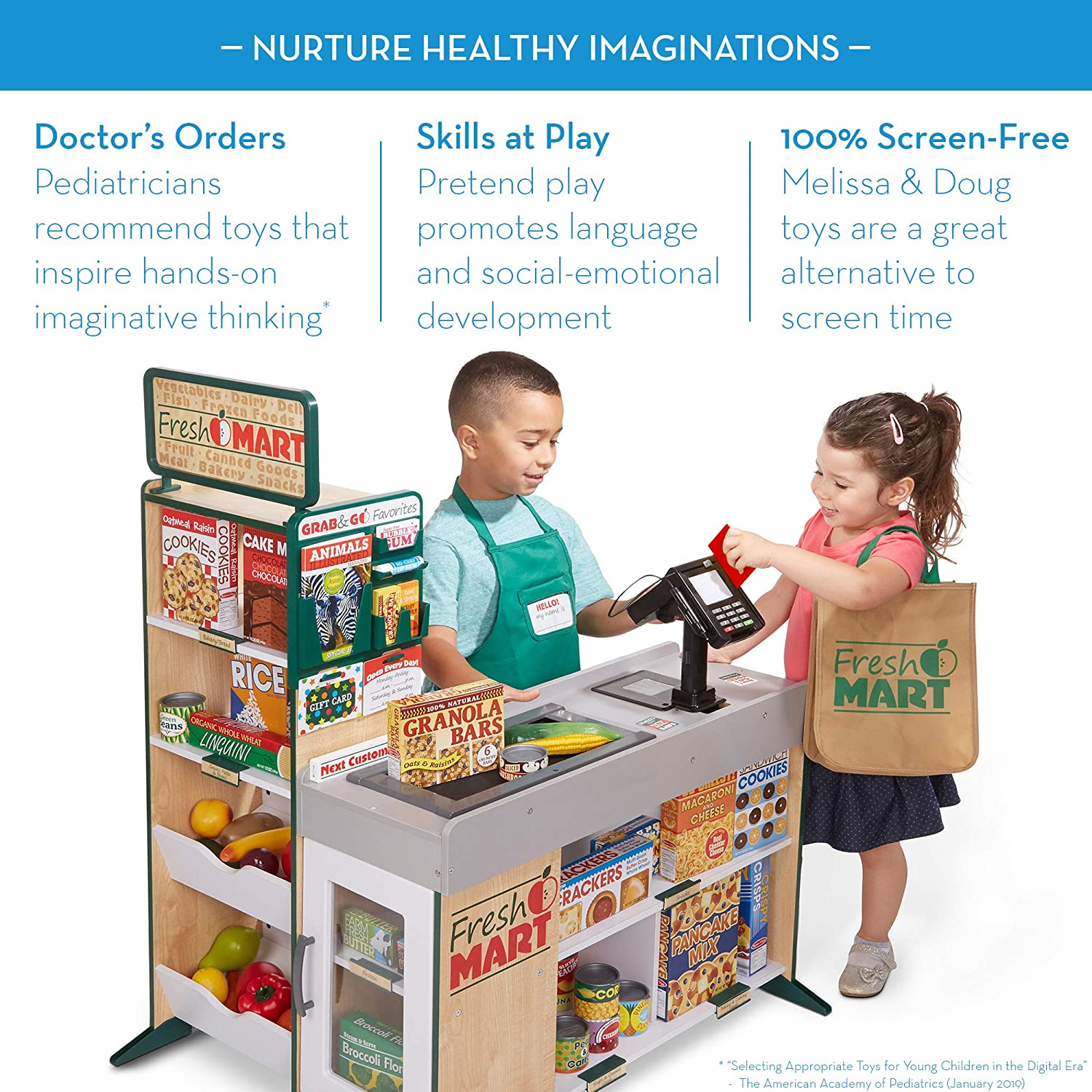 Melissa Doug Wooden Fresh Mart Grocery Store The Original Freestanding Grocery Stand Kids Toy Great Gift For Girls Boys Best For 3 4 5 6