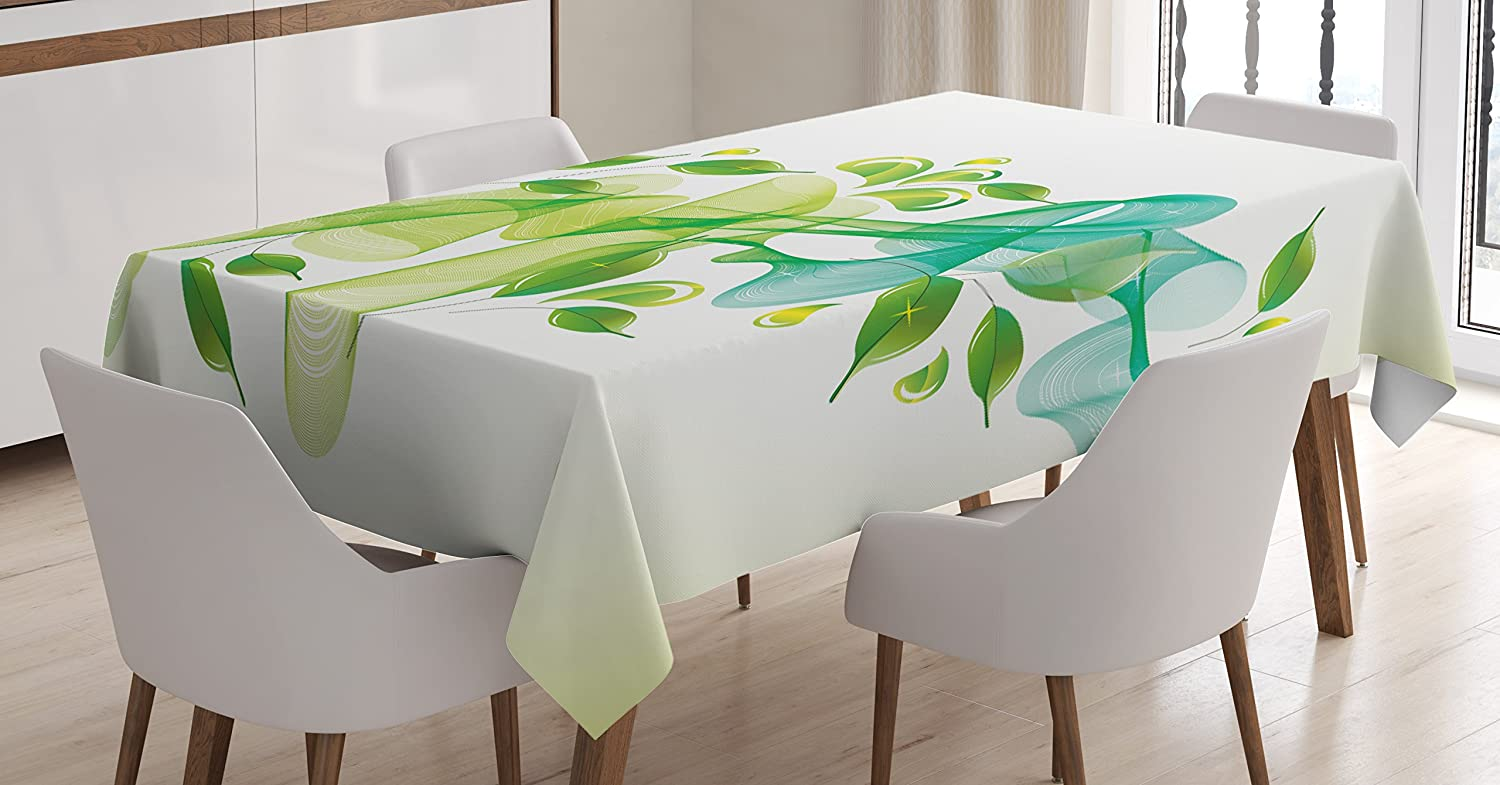 Ambesonne Abstract Tablecloth, Floral Design with Water Touch Inspired Modern Details Artwork, Dining Room Kitchen Rectangular Table Cover, 60