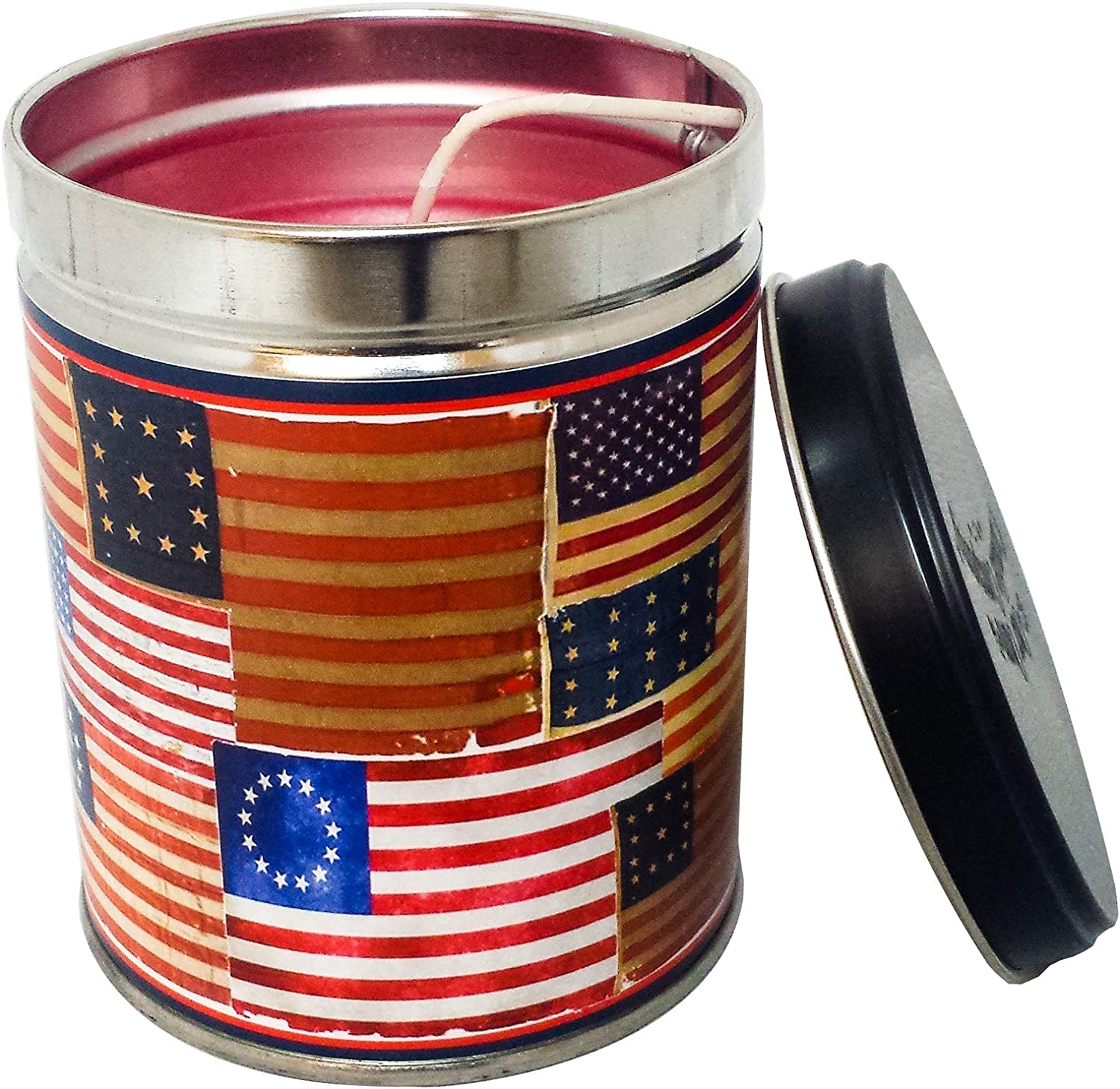 Our Own Candle Company Hot Apple Pie Scented Candle in 13 Ounce Tin with an American Flag Label