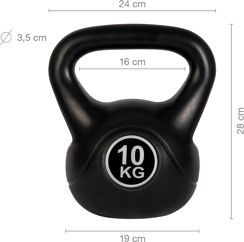 Pesa Rusa de hormig/ón 4-12 kg POWRX Kettlebell con Revestimiento de Vinilo Negro PDF Workout