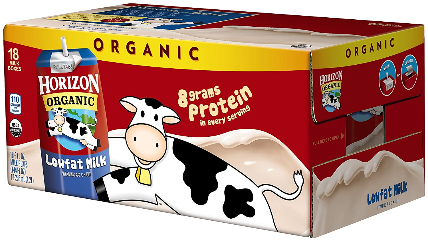 Horizon Organic 1 % Low Fat Milk, 8-Ounce Aseptic Cartons (Pack of ...