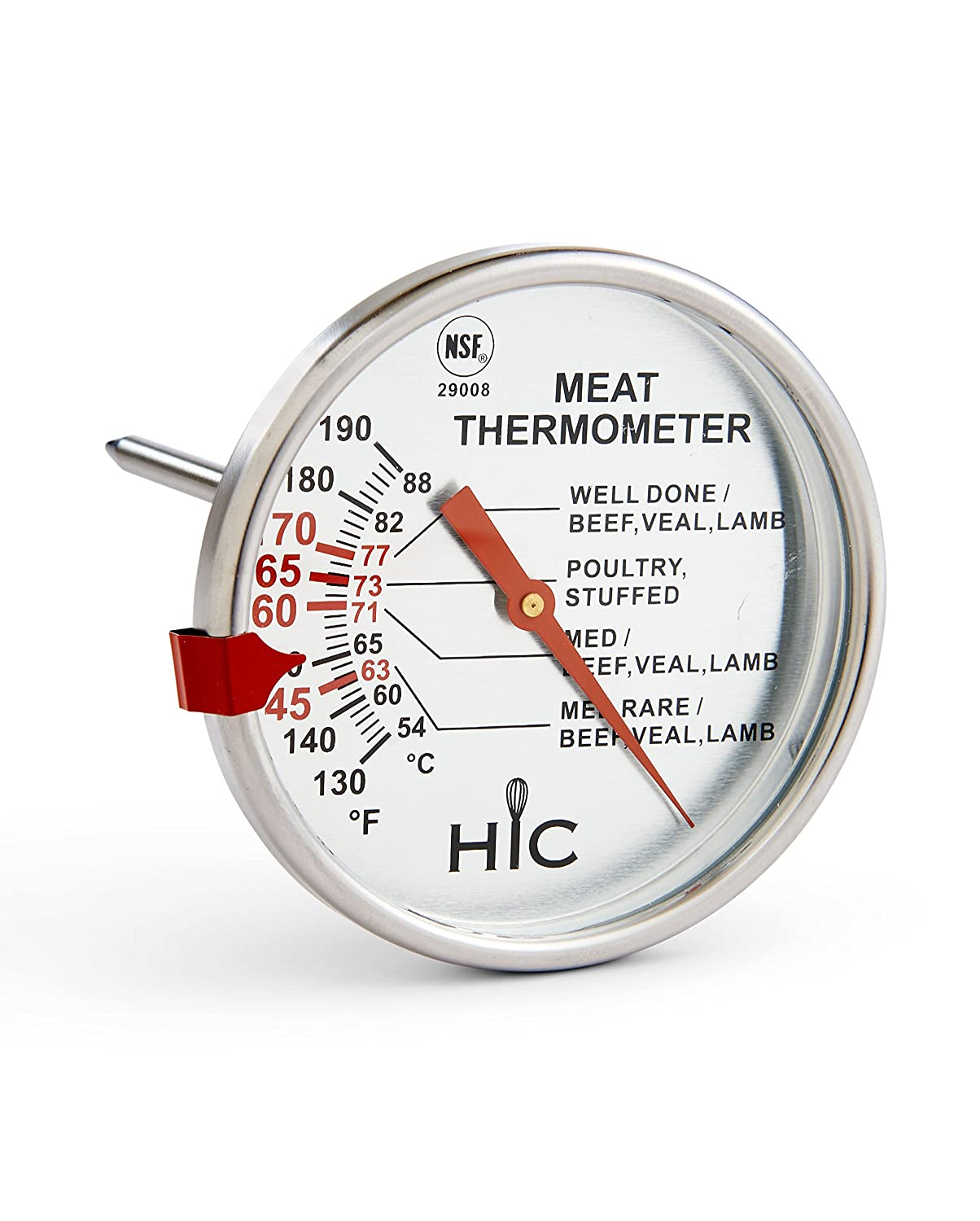 HIC Harold Import Co. 29008 HIC Roasting Meat Poultry Turkey Grill Thermometer, Oven Safe, Large 3-Inch Easy-Read Face, Stainless Steel Stem and Housing