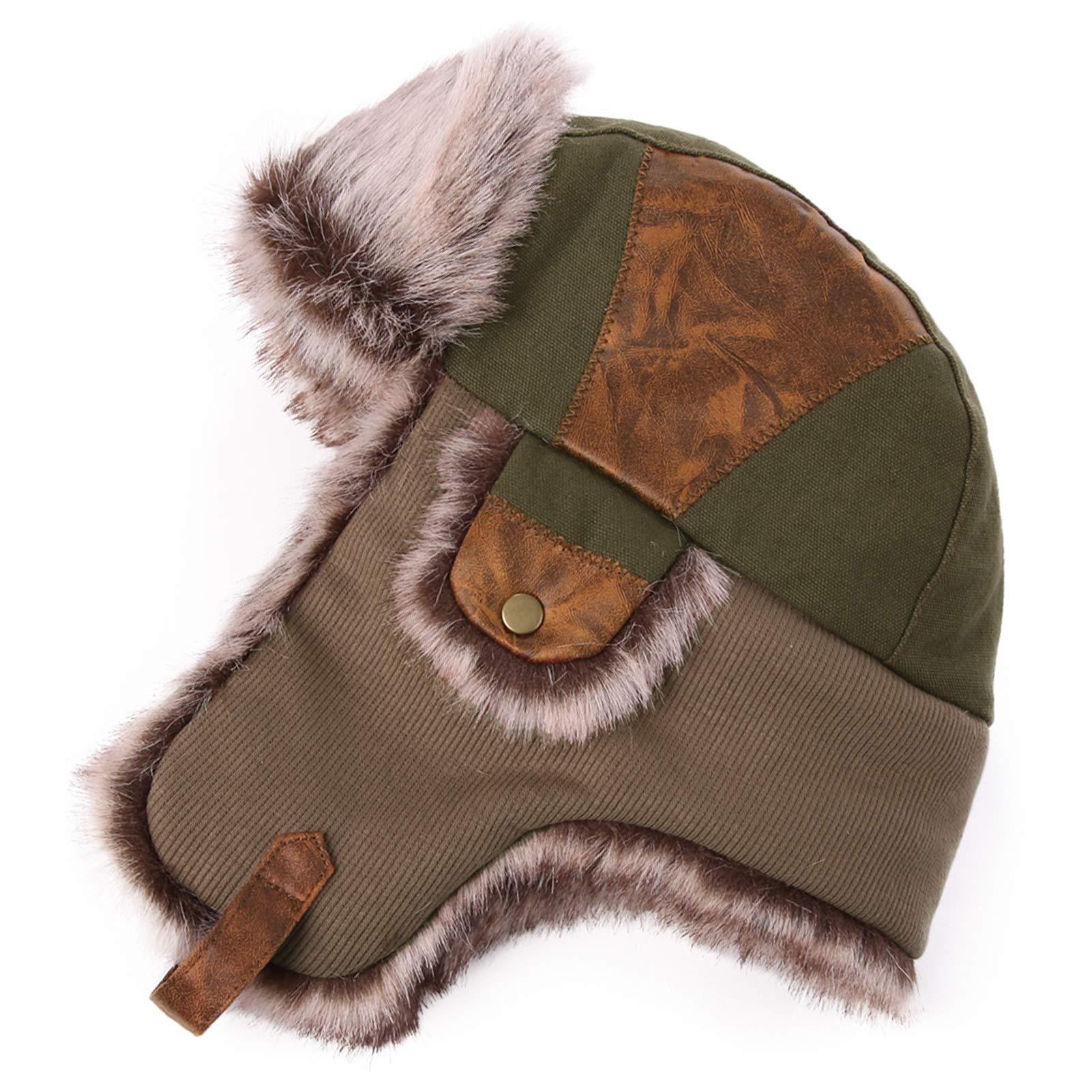 Fancet Winter Faux Fur Trapper Bomber Hat Men Women Warm Thermal Lined Outdoor Ski Snow Earflap Hunter Hats for Walking Skiing