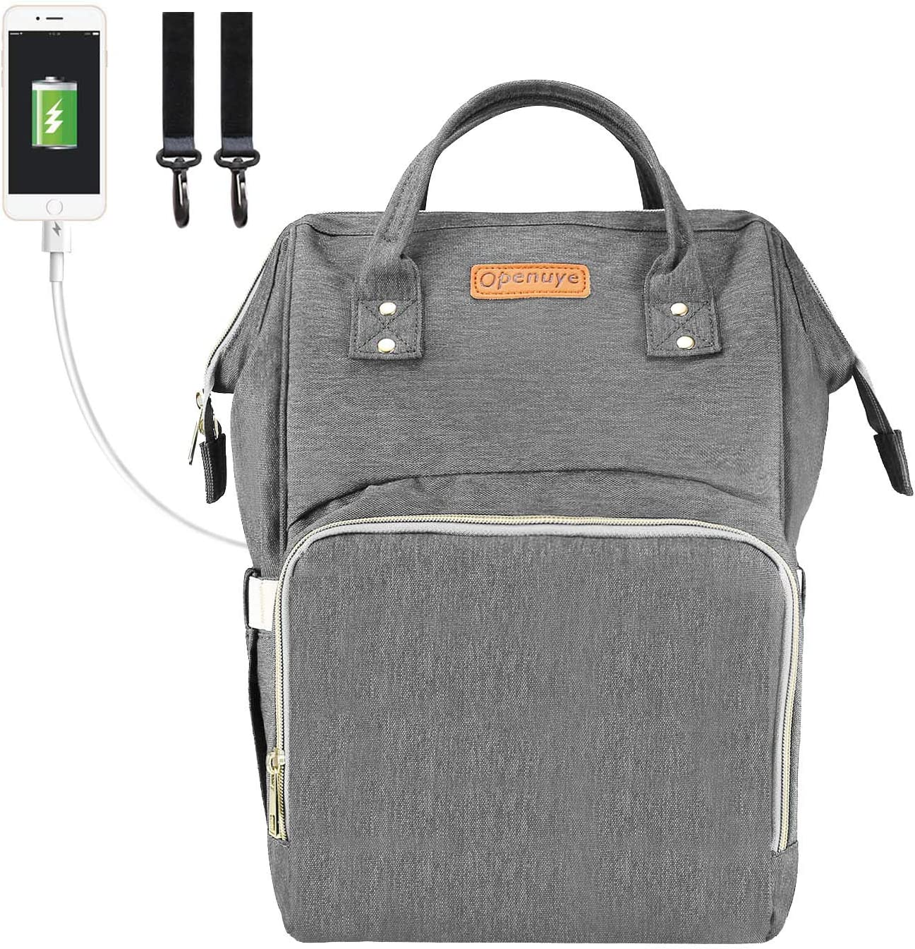 Openuye mochilas de pañales, Bolsa de pañales grande con puerto de carga USB y gancho para cochecito, mochila de manos libres para viajar (Gris)