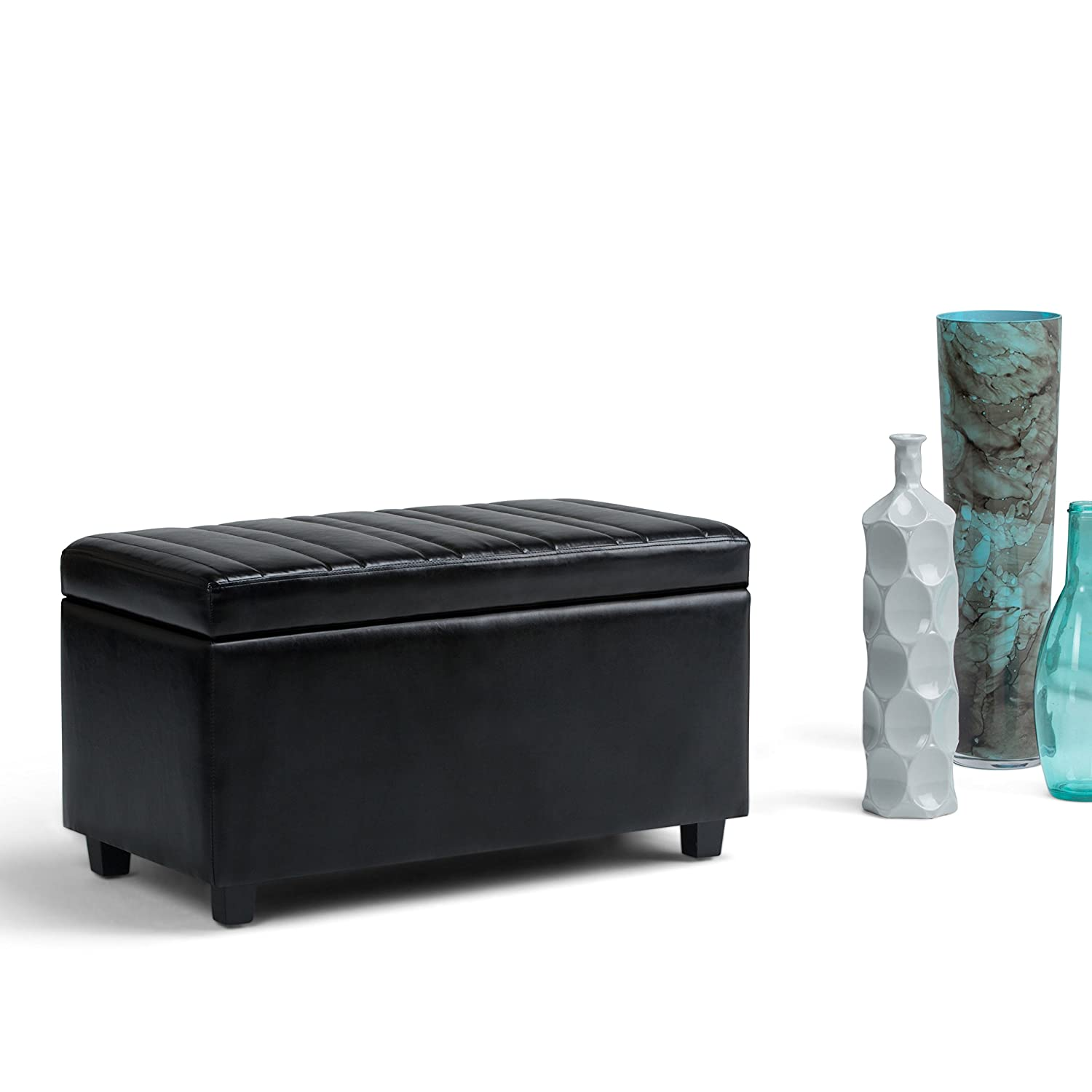 Simpli Home AXCOT-259-BL Darcy 34 inch Wide Contemporary Storage Ottoman in Midnight Black Faux Leather