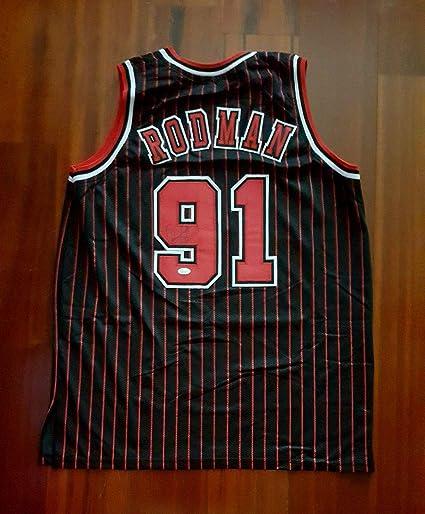 Dennis Rodman Signed Chicago Bulls Black Autographed Custom Men XL Jersey JSA