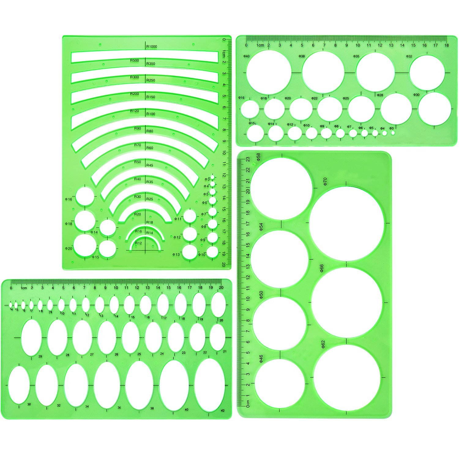 4 Pieces Clear Green Template Plastic Rulers Circle Oval Circle Radius Drawing Templates for Office and School Supplies Boao