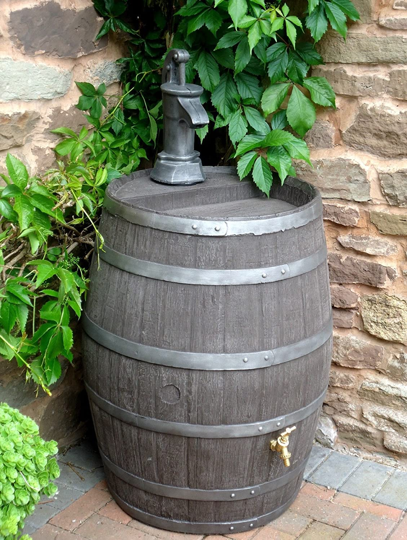 Barrel Water Butt Premium Edition With Brass Tap / 52 Gallon / 238 Litre / Jacobean Dark Oak Effect Hogshead Ale Barrel with Replica Cast Iron Effect Pump / Garden