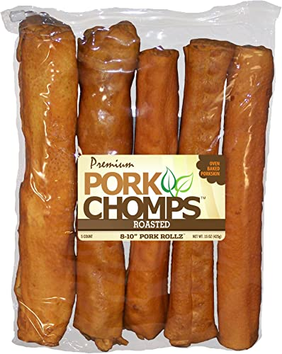 Pork Chomps Premium 8-10 Roasted ROLLZ 5CT
