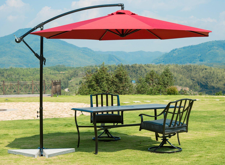 SUNNYARD 10 Ft Cantilever Patio Umbrella Outdoor Offset Hanging Umbrella, 8 Ribs, Red -  - shades-parasols, patio-furniture, patio - 81hRKkFaUbL -