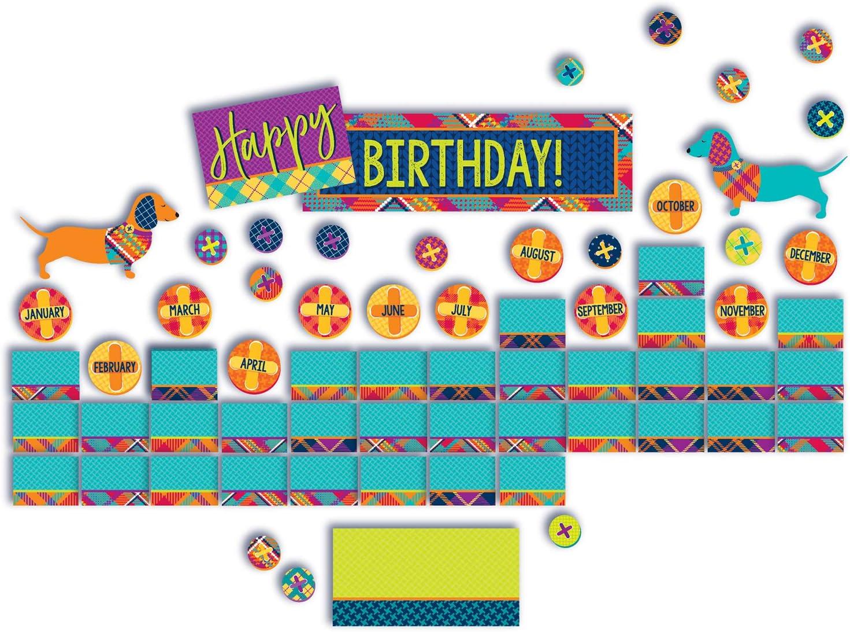 Eureka Multicolor Plaid Dog Themed Mini Birthday Bulletin Board Classroom Decoration Set, 66pcs