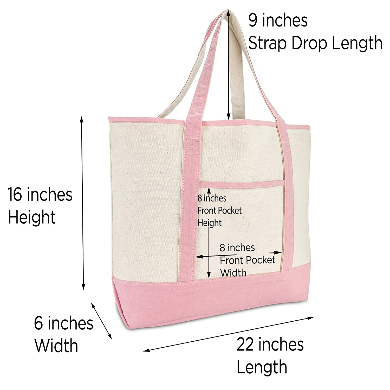 8fe25758b0 Amazon.com  DALIX Women s Cotton Canvas Tote Bag Large Shoulder Bags Pink  Monogram A  Shoes