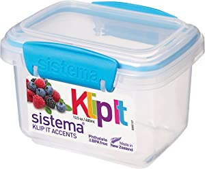 Sistema 61540 KLIP IT Accents Food Storage Container, 400 ml - Assorted Colours