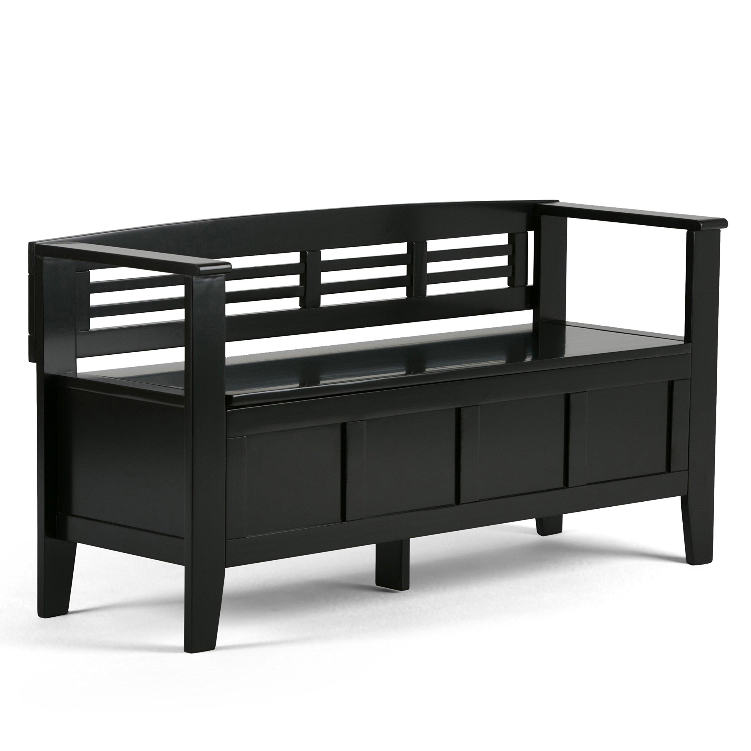 Simpli Home Adams Solid Wood Entryway Storage Bench, Black
