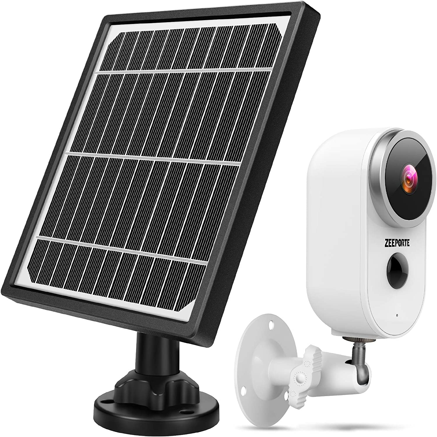 Outdoor Security Camera System Wireless, 1080P Solar Powered Home Security Camera System with Rechargeable Battery, Waterproof, Motion Detection, 2-Way Audio, Night Vision, SD Storage and Solar Panel