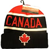 Canada Maple Leaf Black Red With White Stripes Toque Hat ..For Adults.. New