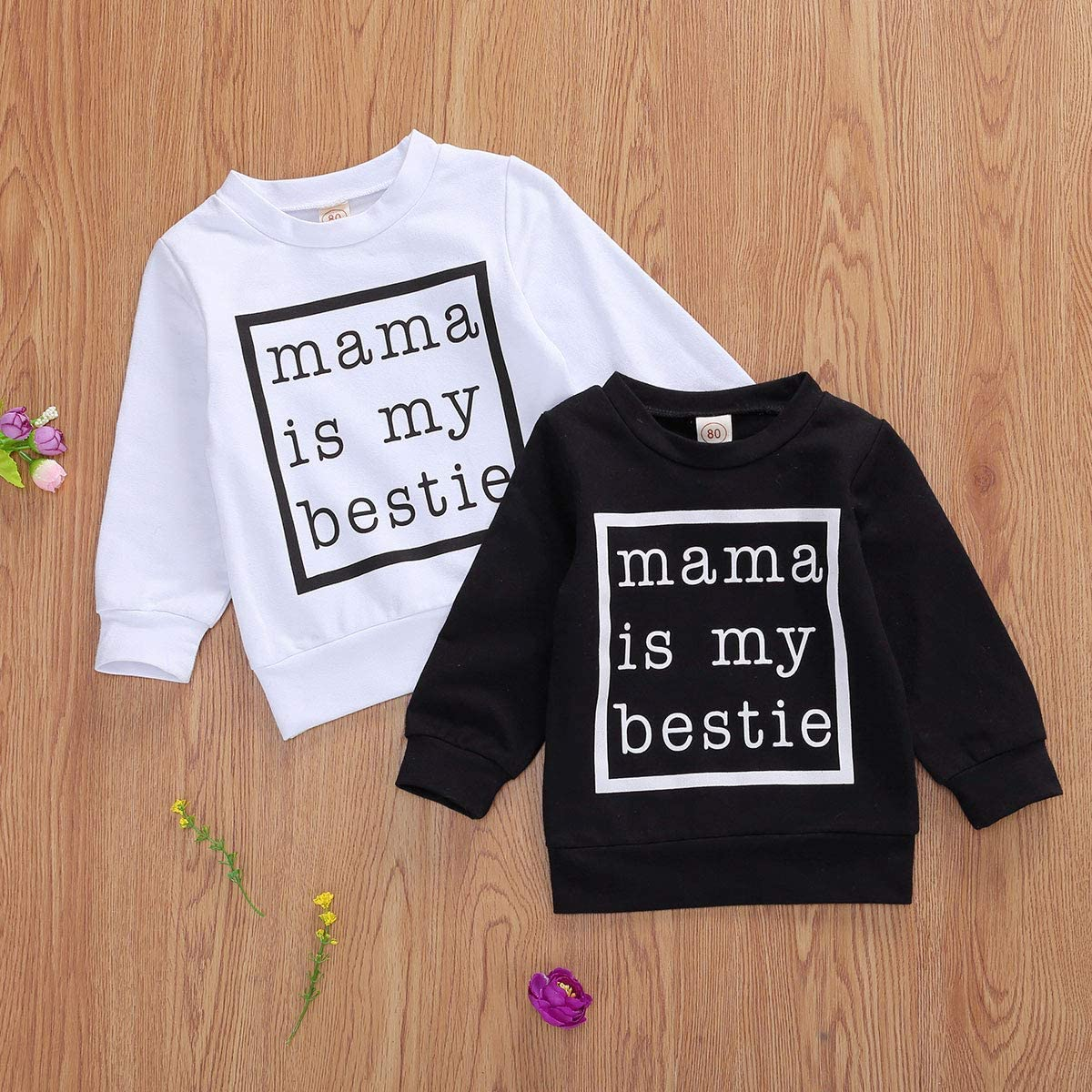 Infant Toddler Baby Girls Mamas Girl Sweatshirt Pullover Top Leopard Long Sleeve Sweater Shirt Fall Winter Clothes