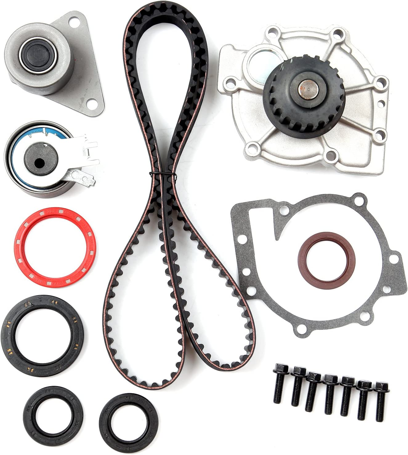 ANPART Timing Belt Kit Fit For 2000-2004 Volvo V40 1998-2007 2009-2010 Volvo V70 2003-2007 2009-2010 Volvo XC70 2005-2006 Volvo XC90 Timing Belt Water Pump Tensioner Gasket Set