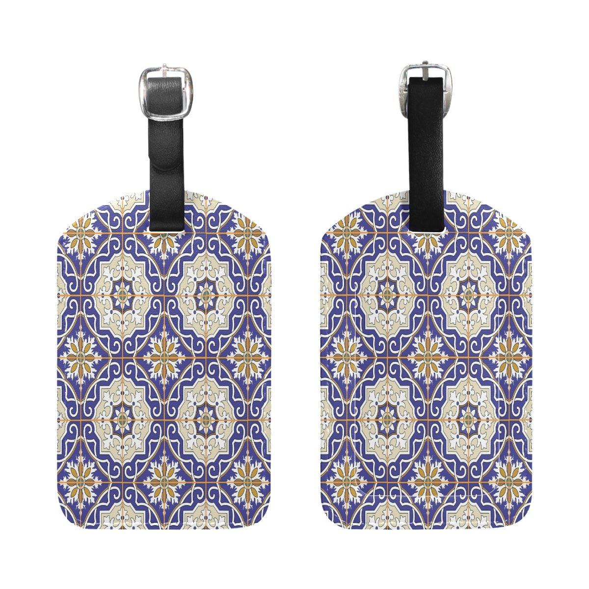 1Pcs Saobao Travel Luggage Tag Colorful Moroccan Tiles PU Leather Baggage Suitcase Travel ID Bag Tag