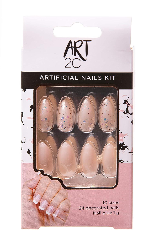 Art 2C - Kit de uñas postizas con pegamento fáciles de poner y quitar, 24 uñas decoradas, 10 tamaños (041)