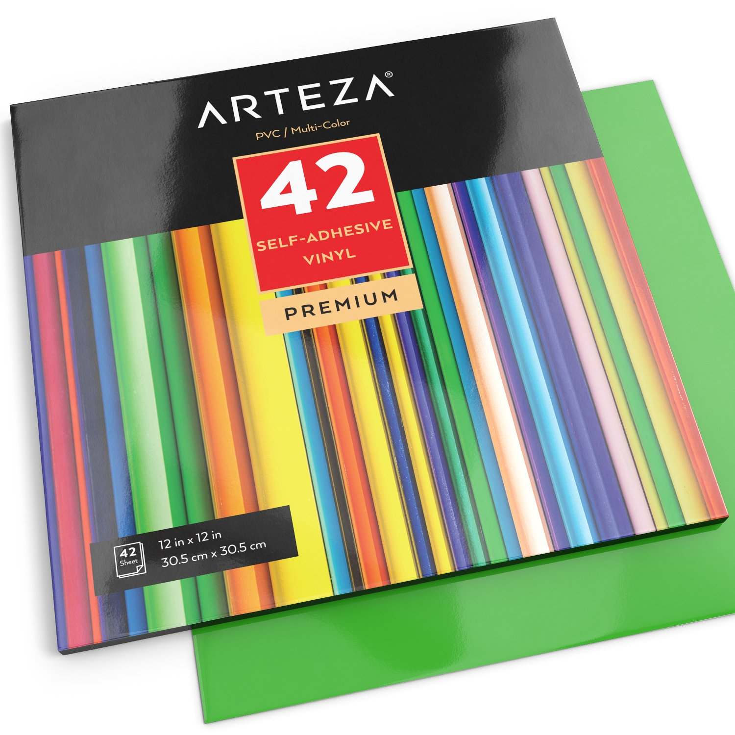 12x12 for Indoor /& Outdoor Projects Waterproof and Easy to Weed /& Cut Pack of 42 ARTEZA Self Adhesive Vinyl Sheets Compatible with Cricut /& Other Craft Cutters Assorted Colors