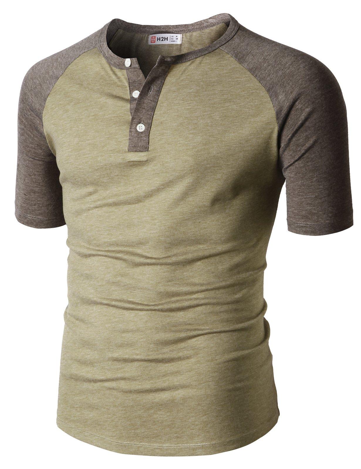 H2H Men Slim Fit Henley Raglan Short Sleeve Contrast Color Block Casual Baseball T-Shirt HEATHERBEIGE US M/Asia L (CMTTS0222)