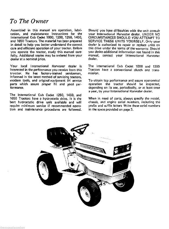 cub cadet maintenance manual