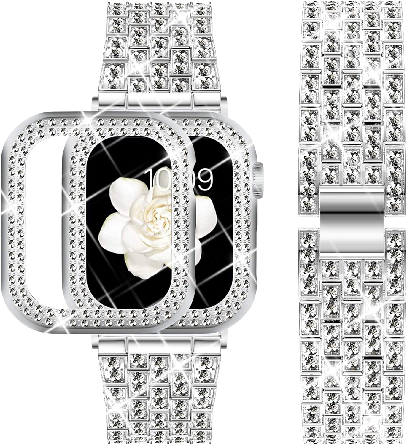 DABAOZA Compatible Apple Watch Band 40mm 44mm with Case, Bling Women Girl Dressy Crystal Band with Shiny Protective Bling Bumper Frame for iWatch SE Series 6 5 4