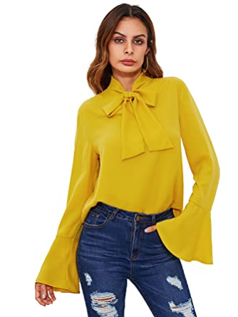 4494610d9 Floerns Women's Bow Tie Long Sleeve Chiffon Blouse Tops at Amazon ...
