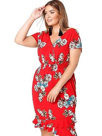 96ea90073f9c1 Lovedrobe Koko Women s Red Floral Dress Ladies Plus Size 16-26 (22 ...