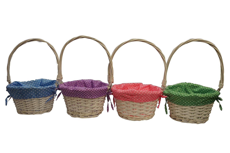 4 x Off White Wicker Willow Round Basket Decoration Gift Hamper Basket ARPAN